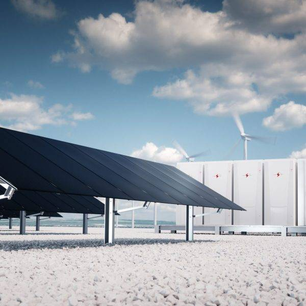 Photorealistic futuristic concept of renewable energy storage. 3d rendering.