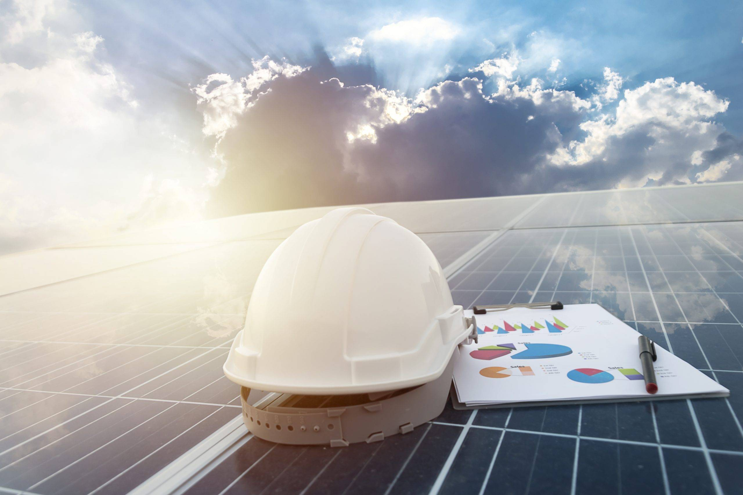 Happy working solar station photovoltaic panels